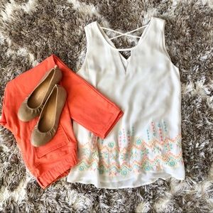 🧡Embroidered White Tank Top